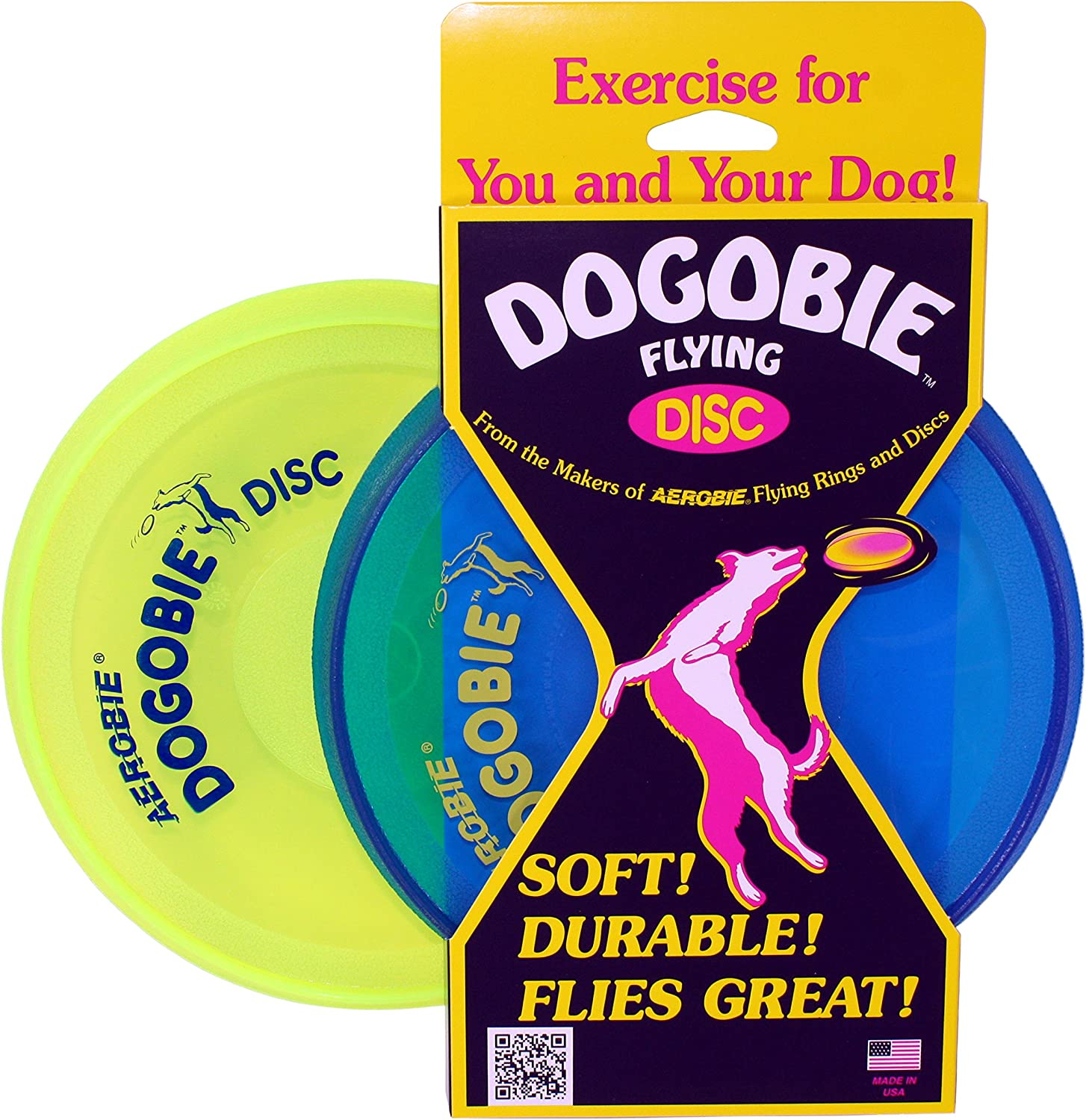 Aerobie Dogobie Discs for Dogs (Pack of 2) (1 bluee Disc, 1 Yellow Disc)