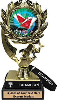 Express Medals Cornhole Bag Toss Trophy with Removable Wearable Champion Wrist Band Marble Base and Personalized Engraved Plate
