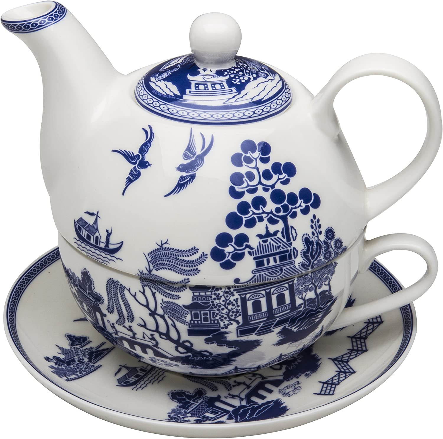 Grace Teaware Porcelain Direct store 4-Piece Tea Blue Willow One For Chicago Mall