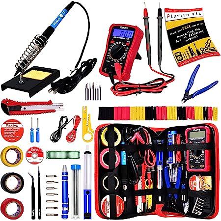 Soldering Iron Kit - Soldering Iron 60W Adjustable Temperature, Digital Multimeter, 5pcs Soldering Tips, Solder Wire, Stand, Desoldering Pump, Solder Wick, Tweezers, Paste [110V US Plug] from Plusivo