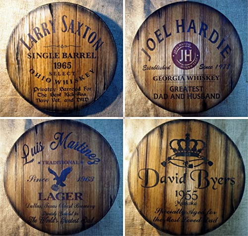 Personalized Gifts for Dad, Wall Decor Sign Inspired by Old Whiskey and Beer Barrels, Handmade Artwork on Distressed ...