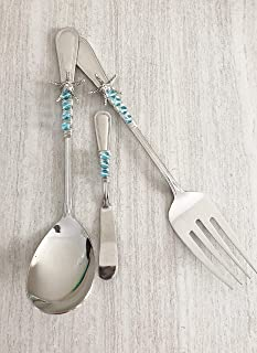 Cyan Glass Beaded Silver Starfish Serving Utensil Gift Set