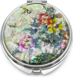 Seoul Craft Compact Makeup Mirror Mother of Pearl Metal Folding Magnify Butterfly Flowers Pink Yellow