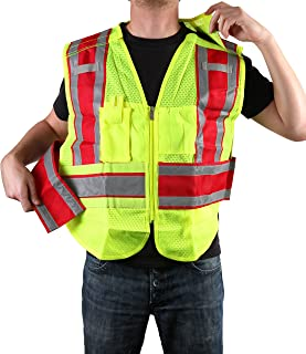 Safety Depot Class 2 Ansi/ISEA Mesh Reflective 5 Point Breakaway Public Safety Vest With Zipper, Pockets, Mic and Radio Tabs ANSI/ISEA Color Coded PWB503 (Fire Service Red Filled, Regular)