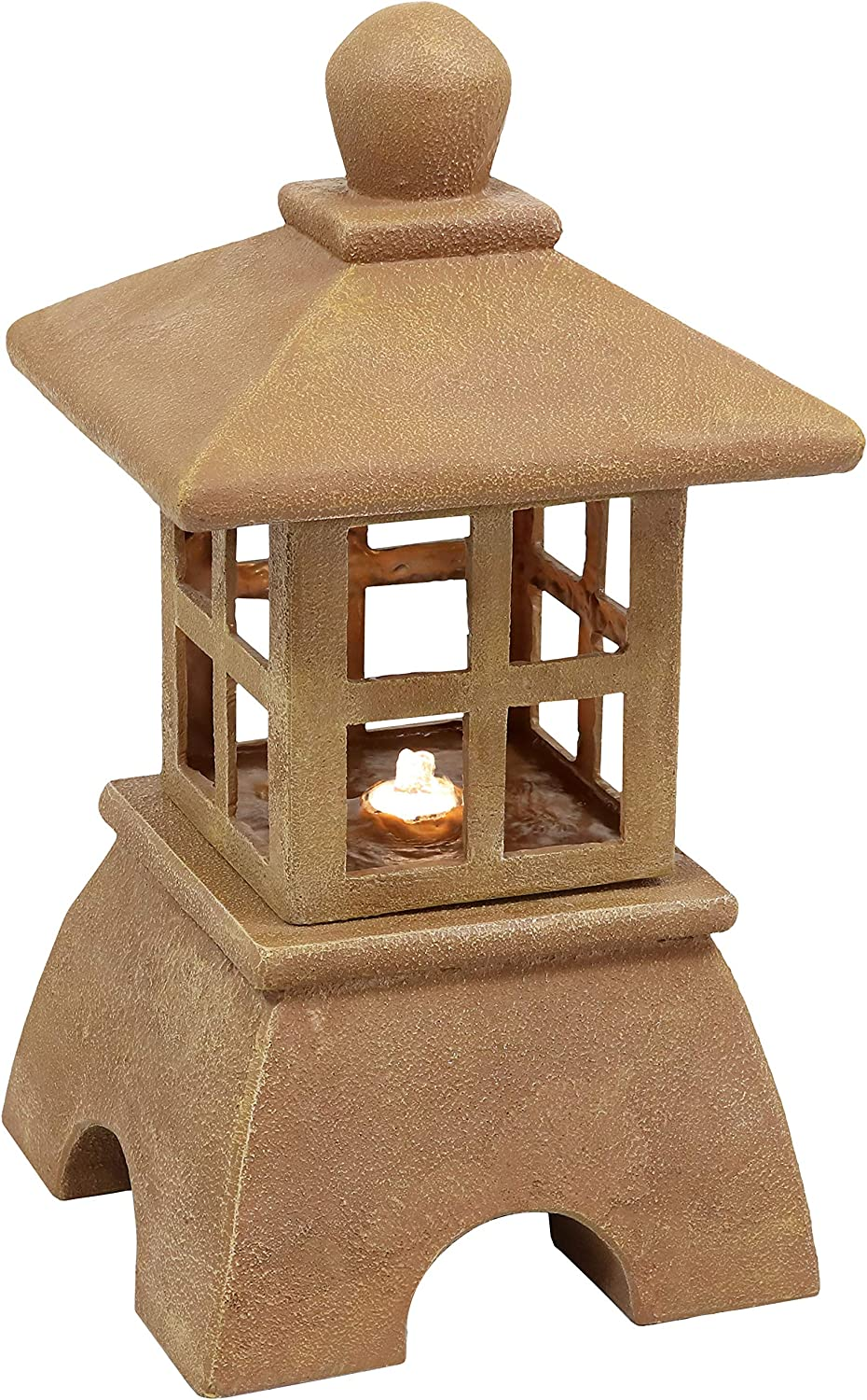 Sunnydaze Asian New Free Shipping Pagoda Outdoor Water with Fountain - Regular store LED Lights