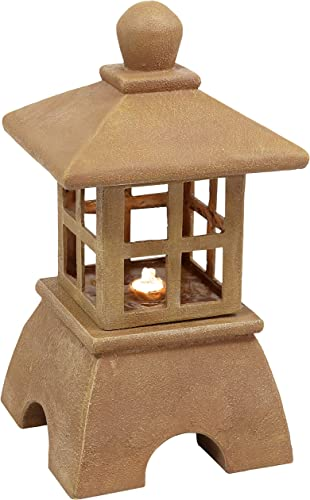 2021 Sunnydaze Asian Pagoda Outdoor Water Fountain with LED Lights - high quality Decorative Freestanding Japanese Garden Fountain for sale Backyard, Lawn, and Porch - 23-Inch sale