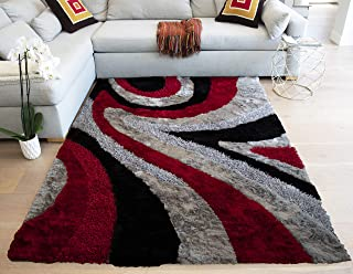 Ex Carved Cozy Shag Shaggy 3-Dimensional Fluffy Fuzzy Furry Flokati Contemporary Hand Woven Modern Contemporary 8-Feet-by-10-Feet Polyester Made Area Rug Carpet Rug Silver Grey Gray Red Colors