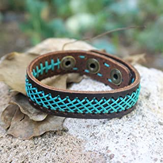BARBARI Jewelry Genuine Leather Bracelet - Green X | Handmade Gift for Him and Her! High Quality Wristband, integrated with green-turquoise wax wires