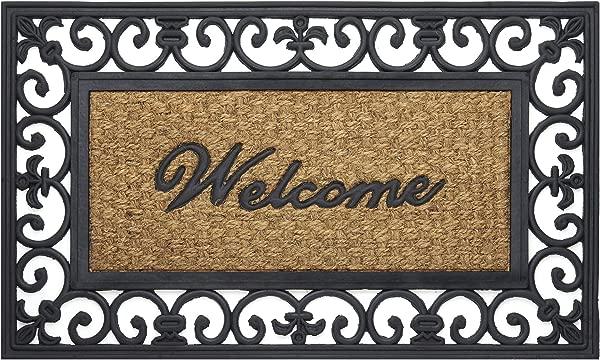 Achim Home Furnishings WRM1830FL6 Fleur De Lis Wrought Iron Rubber Door Mat 18 By 30