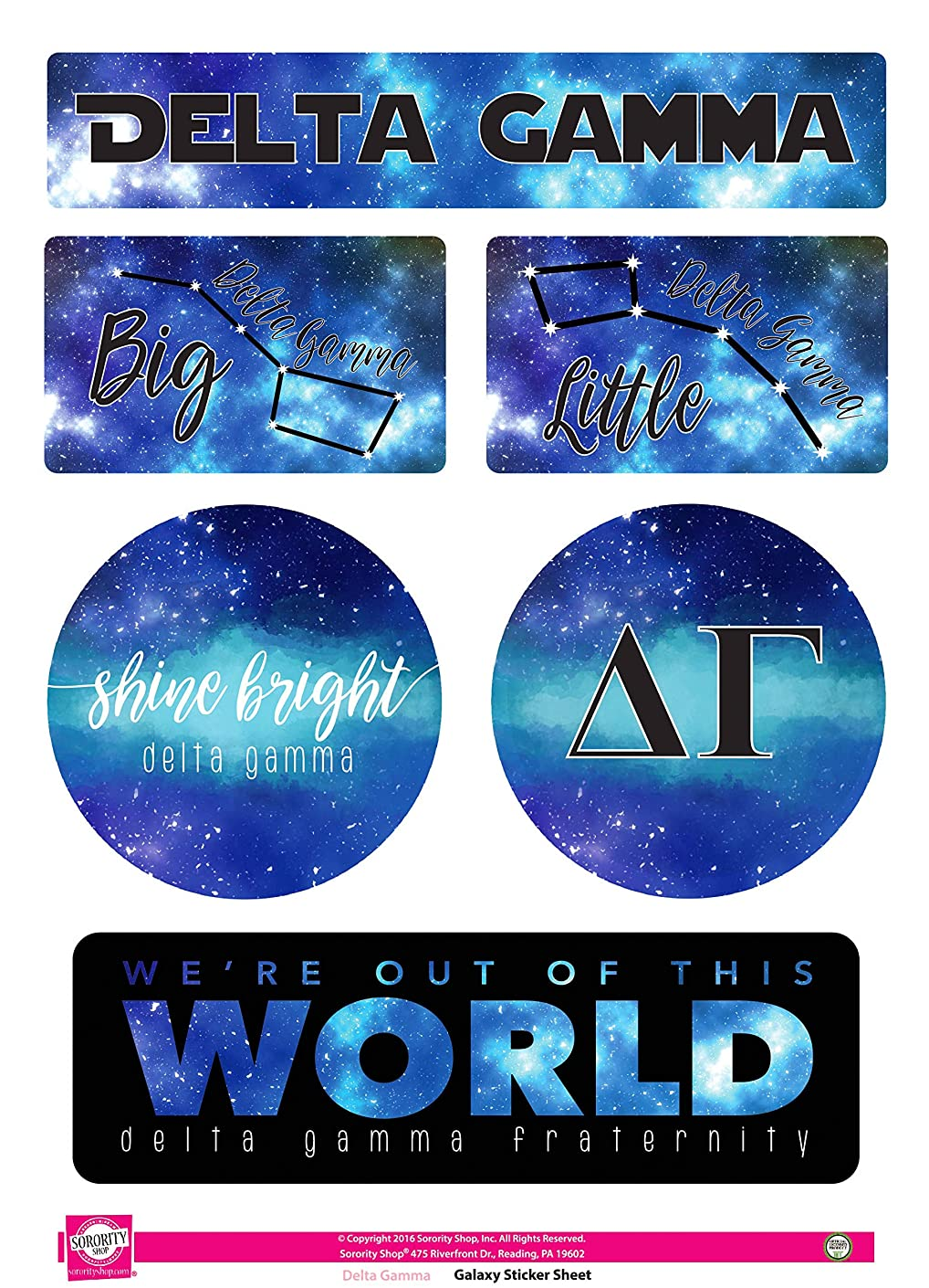 Delta Gamma - Sticker Sheet - Galaxy Theme