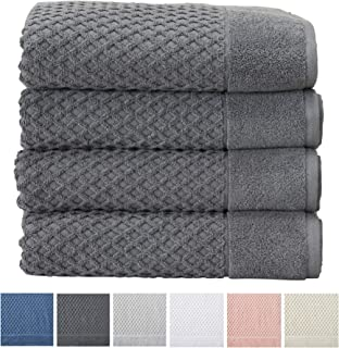 4-Pack Bath Towel Set. 100% Cotton Bathroom Towels. Absorbent Quick-Dry Textured Bath Towels. Grayson Collection. (Bath 4pk, Dark Grey)