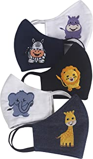Zardozi Creations 100% Cotton Breathable Embroidered Masks for Kids   Multicolor   Animals   Set of 5