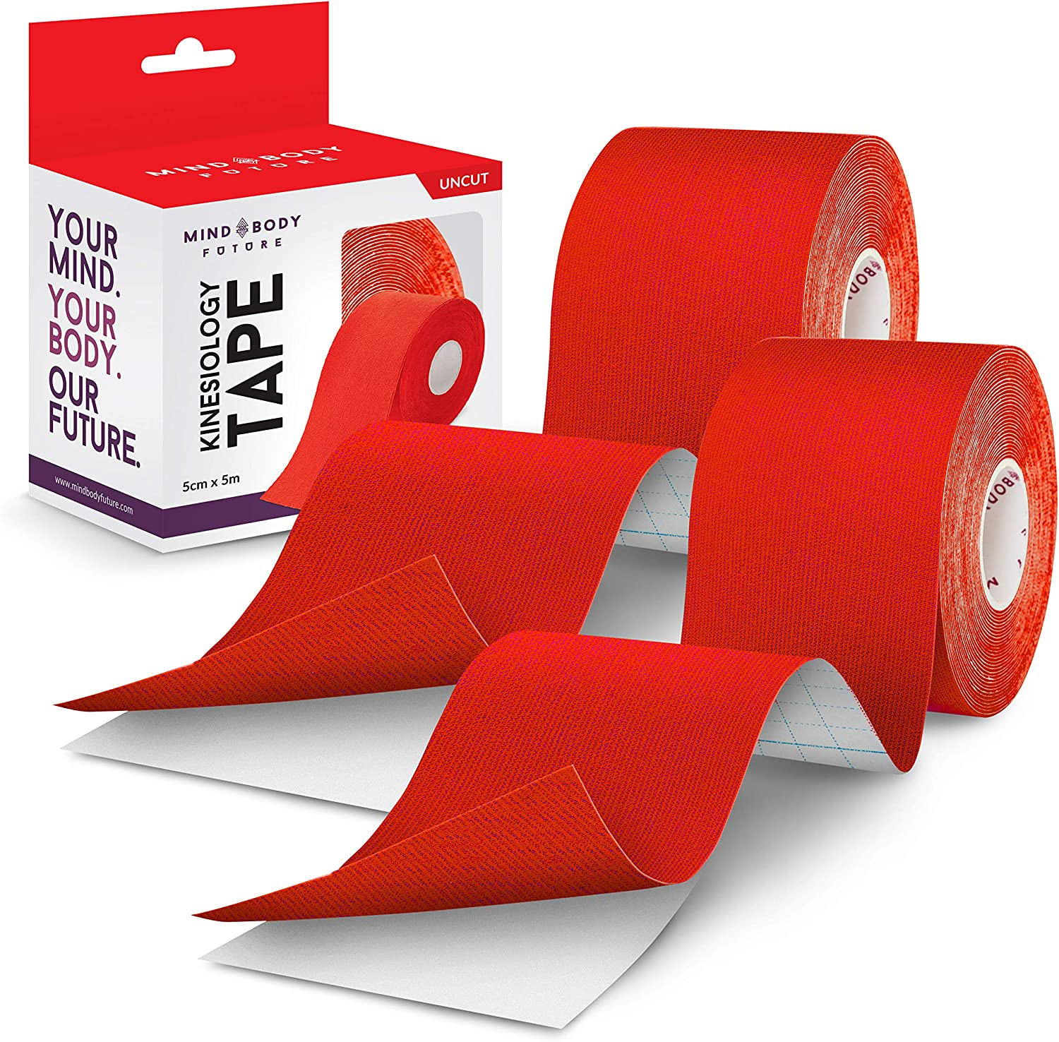 Kinesiology Tape - Medical Grade Uncut 5cm x 5m Roll Includes eGuide Orange Ideal for Athletic Sports Physio Strapping and Muscle Injury /& Support 1 Pack
