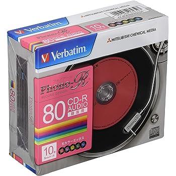 バーベイタムジャパン 三菱ケミカルメディア Verbatim 音楽用 CD-R MUR80PHS10V1 (Phono-R 5色/1-24倍速/10枚) カラーミックス