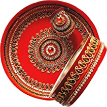Designer Red Karwa Chauth Puja Thali | Diwali Gifts Indian Decor Decorative Plates Puja Thali Puja Items Thali Set