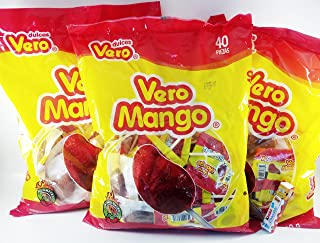 Pack of 3 Vero Mango, Chili Covered Mango Flavored Lollipops, 40 Pieces Authentic Mexican Candy with Free Chocolate Kinder Bar Included Valentine's Day