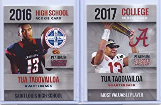 "Limited Edition (2) TUA TAGOVAILOA 2017""Platinum 1ST Ever Printed MVP (2 Card) Rookie LOT! Alabama!"