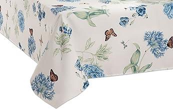 """Lenox Butterfly Meadow 60""""x84"""" Oblong Tablecloth, Blue Flower"""
