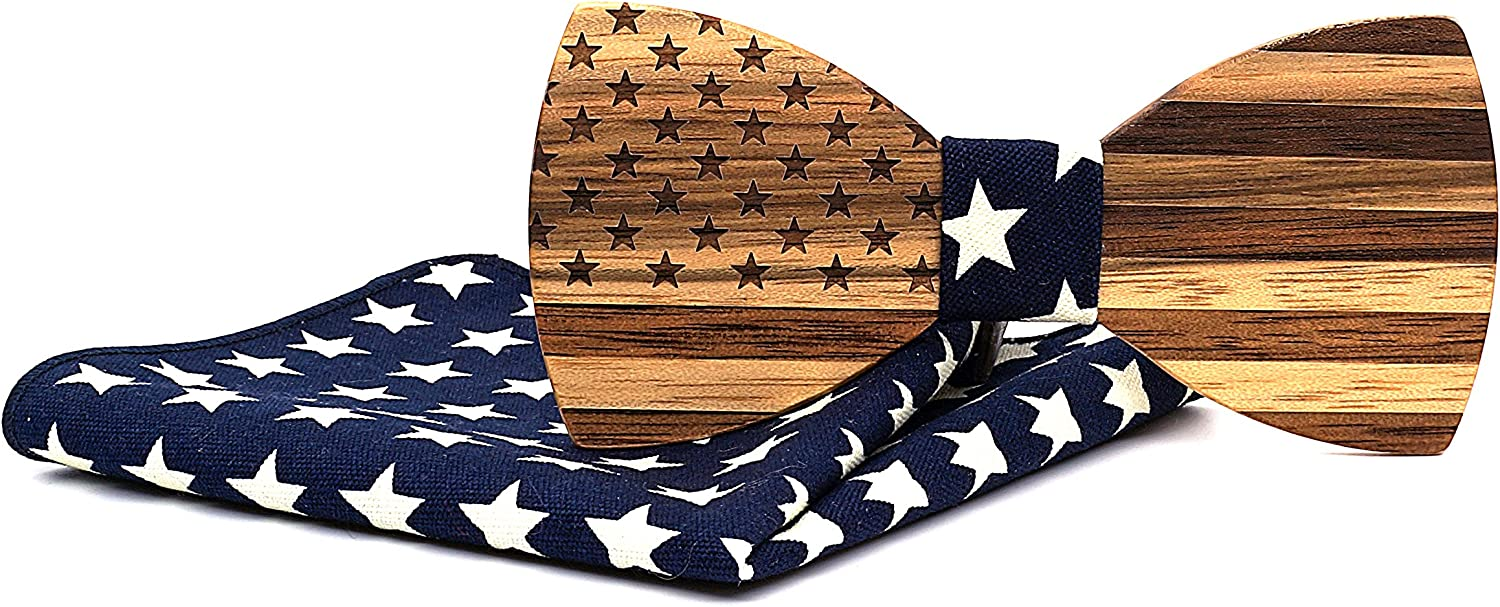 Mahoosive Men's Unique National Flag Series Today's only Tie and Bow Wooden Many popular brands P
