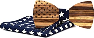 Mahoosive Men`s National Flag Wooden Bow Tie and Pocket Square Set With Gift Box