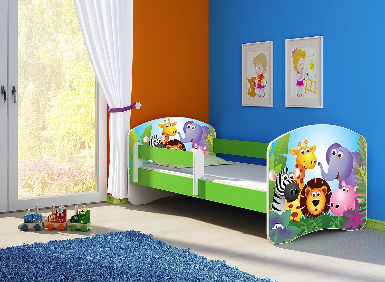 Clamaro 'Fantasia Grün' 140 x 70 Kinderbett Set inkl. Matratze und Lattenrost, mit verstellbarem Rausfallschutz und Kantenschutzleisten, Design  01 Tierpark-1