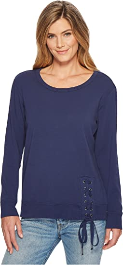 Soft As Cashmere Cotton Interlock Sweatshirt w/ Asymmetrical Lace-Up