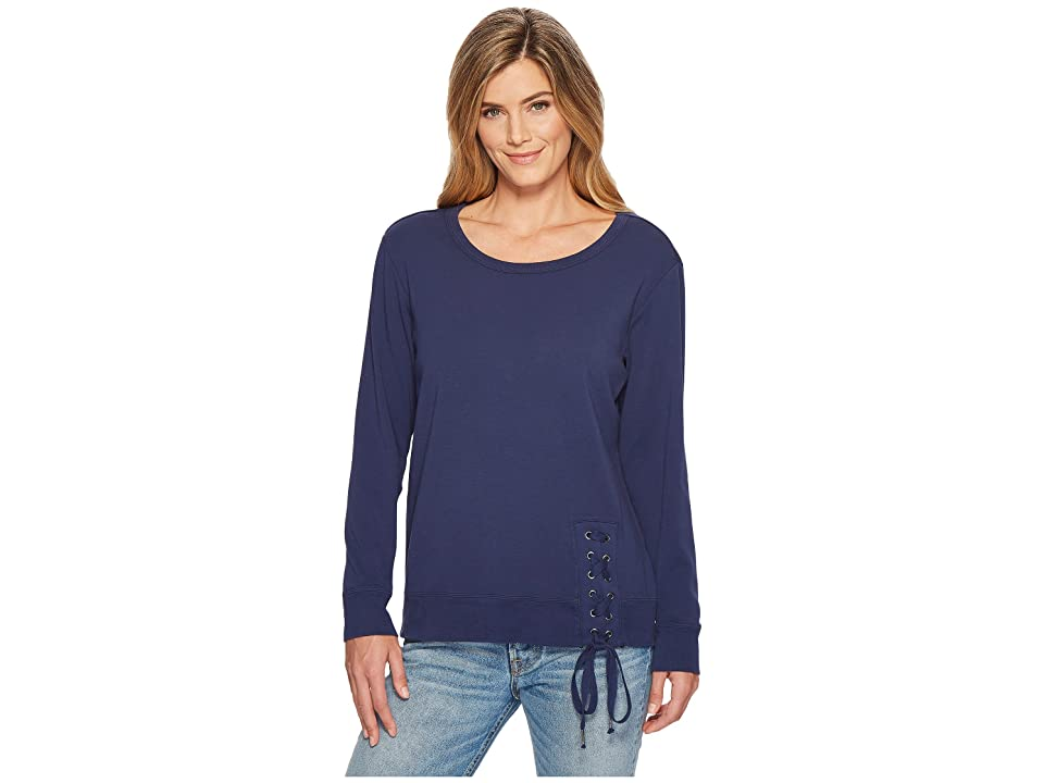 Mod-o-doc Soft As Cashmere Cotton Interlock Sweatshirt w/ Asymmetrical Lace-Up (New Navy) Women