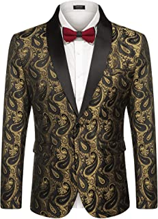 Mens Floral Tuxedo Jacket Paisley Shawl Lapel Suit Blazer Jacket for Dinner,Party,Wedding,Prom