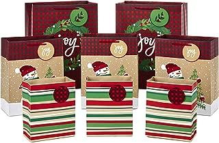 Hallmark Christmas Gift Bag Assortment, Traditional (Pack of 8 Gift Bags; 3 Small 6