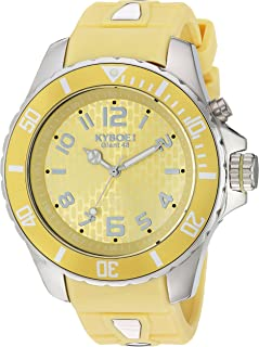 KYBOE! Power Stainless Steel Quartz Watch with Silicone Strap, Yellow, 21 (Model: KY.48-038.15
