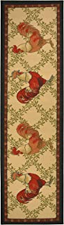 Kitchen Collection Rooster Beige Multi-Color Printed Slip Resistant Rubber Back Latex Contemporary French Country Kitchen Runner Area Rug (Rooster, 23