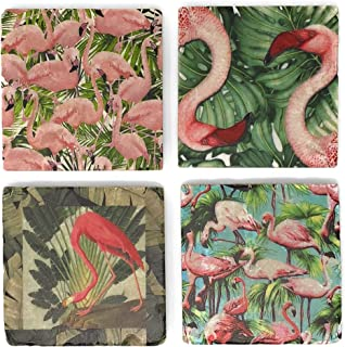 Studio Vertu Flamingo and Frond Marble Coasters, Set of 4