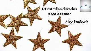 10 estrellas doradas de goma eva brillante Silvys handmade