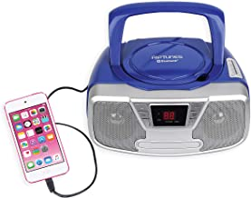 Riptunes Portable CD Player – Programmable Boombox, AM/FM Radio, Bluetooth Blue CDB23BT