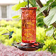 Juegoal 28 oz Glass Hummingbird Feeders for Outdoors, Wild Bird Feeder with 5 Feeding Ports, Metal Handle Hanging for Outd...