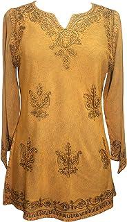 Agan Traders Medieval Renaissance Vintage Gypsy Rayon Top Blouse ~ India
