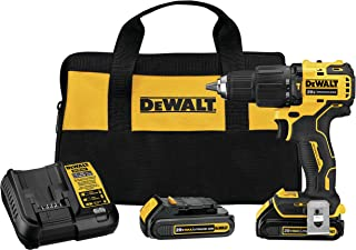 DEWALT ATOMIC 20V MAX Hammer Drill, Cordless, Compact, 1/2-Inch, 2 Batteries (DCD709C2)