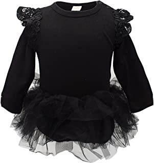 Baby Girl Long/Cap Sleeve Ruffle Cotton Romper with Tulle Tutu Skirt