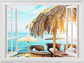 Beach Theme Wall Decals Window View Ocean Paradise Stickers Seaside Coastal Wall Mural for Bedroom Living Room Kitchen Off...