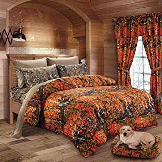20 Lakes Woodland Hunter Camo Comforter, Sheet,& Pillowcase Set (Twin, Orange & Forest)