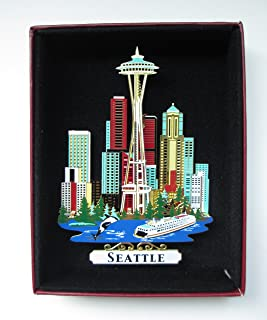 SEATTLE ORNAMENT City Skyline Waterfront Space Needle Whale Ferry Cruise Ship Evergreen Trees Genuine Solid Brass Washingt...