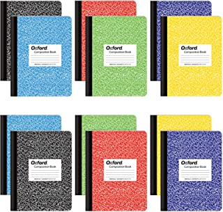 """Oxford Composition Notebooks, Wide Ruled Paper, 9-3/4"""" x 7-1/2"""", Assorted Marble Covers, 100 Sheets, 12 per Pack, Colors M..."""