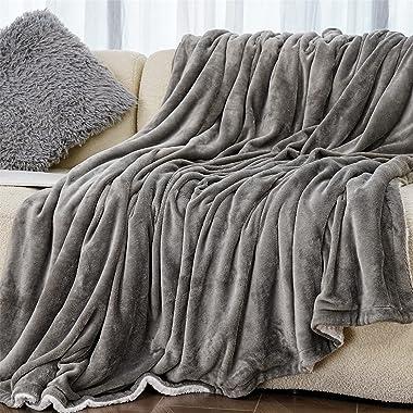Winthome 毛布 二枚合わせ シングル 北欧 シープ調 ブランケット あったか 厚手毛布 フランネル ボア フリース 生地 両面使える 洗える (グレー, 150*200cm)