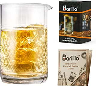 20 Oz Barillio Crystal Cocktail Mixing Glass   Seamless Mixing Pithcer for Stirred Cocktail with Thick Weighted Bottom   Old Fashioned Kit for Bartenders