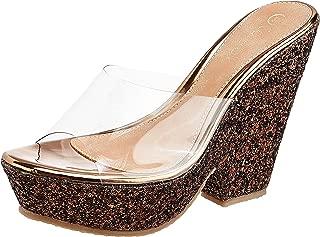 Catwalk Women's Clear Strap Glitter Sandals