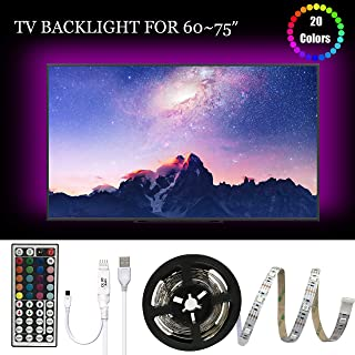 LED TV Backlight, USB Basic Lighting For 60-75 in Television, Dimmable RGB Led Strip Lights With 20 Colors And IR Remote Control For Home Theater Decoration And Reduce Eye Strain and Increase Image Cl