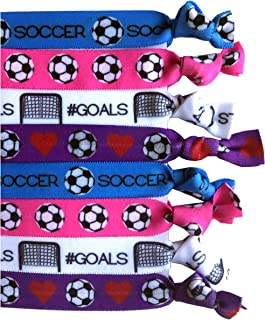 8 Piece Soccer Hair Elastic Set - Accessories for Players, Women, Girls, Coaches, High School Teams, Club Teams and Leagues - MADE in the USA