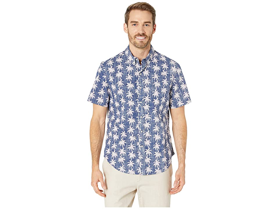Reyn Spooner My Maui Palm Tailored Fit Hawaiian Shirt (Medieval Blue) Men
