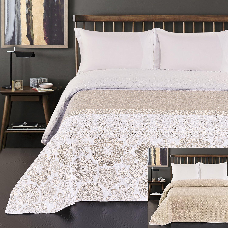 DecoKing Couvre-lit 170/x 210/cm Beige Blanc Cappuccino Jet/é de lit avec imprim/é Abstrait Double Face Facile dentretien Alhambra