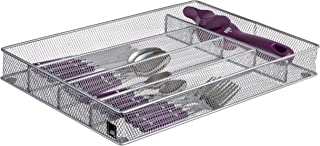 Cutlery Tray by Mindspace, 5 Compartments | Flatware Tray For Drawer | Kitchen utensil Silverware Organizer | The Mesh Collection, Silver